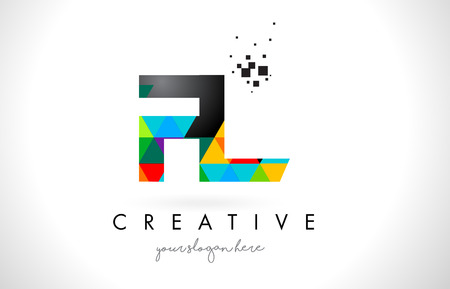 FL F L Letter Logo with Colorful Vivid Triangles Texture Design Vector Illustration.