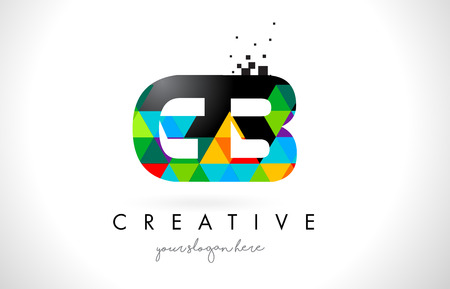 GB G B Letter Logo with Colorful Vivid Triangles Texture Design Vector Illustration.