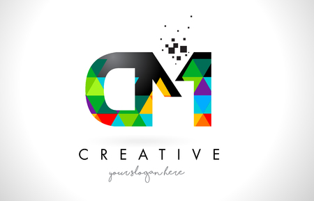 CM C M Letter Logo with Colorful Vivid Triangles Texture Design Vector Illustration. Logó