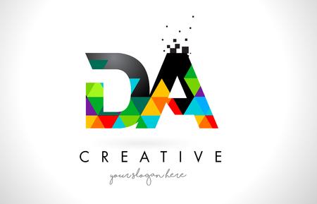 DA D A Letter Logo with Colorful Vivid Triangles Texture Design Vector Illustration.