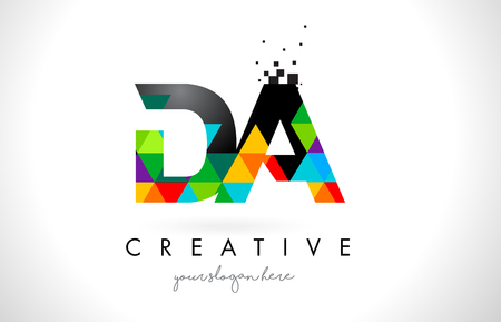 DA D A Letter Logo with Colorful Vivid Triangles Texture Design Vector Illustration.