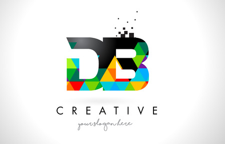 DB D B Letter Logo with Colorful Vivid Triangles Texture Design Vector Illustration.