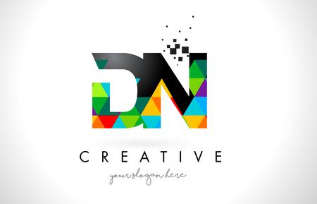 DN D N Letter Logo with Colorful Vivid Triangles Texture Design Vector Illustration. Ilustração