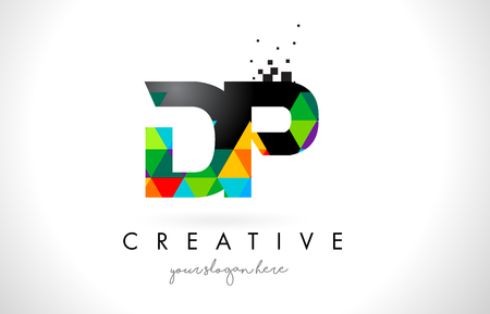 DP D P Letter Logo with Colorful Vivid Triangles Texture Design Vector Illustration.