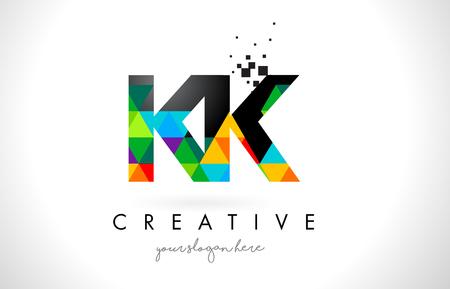 KK K K Letter Logo with Colorful Vivid Triangles Texture Design Vector Illustration.