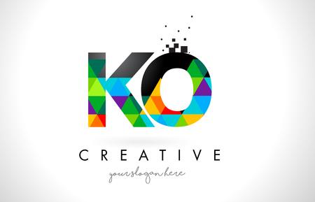 ko: KO K O Letter Logo with Colorful Vivid Triangles Texture Design Vector Illustration.