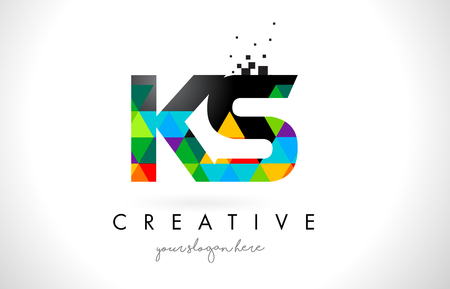KS K S Letter Logo with Colorful Vivid Triangles Texture Design Vector Illustration.