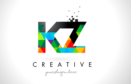 kz: KZ K Z Letter Logo with Colorful Vivid Triangles Texture Design Vector Illustration. Illustration