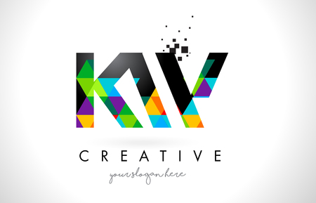 kw: KW K W Letter Logo with Colorful Vivid Triangles Texture Design Vector Illustration.