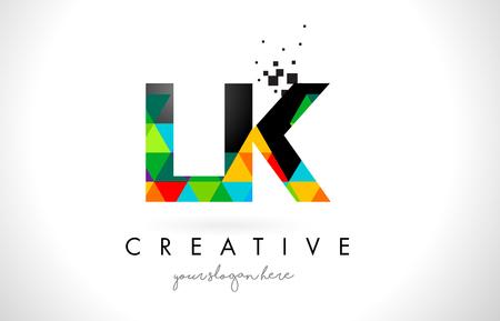 LK L K Letter Logo with Colorful Vivid Triangles Texture Design Vector Illustration.