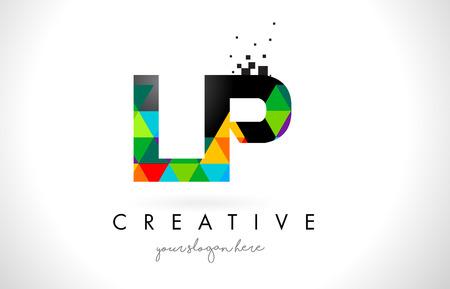 LP L P Letter Logo with Colorful Vivid Triangles Texture Design Vector Illustration. Illustration