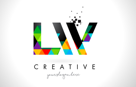LW L W Letter Logo with Colorful Vivid Triangles Texture Design Vector Illustration.