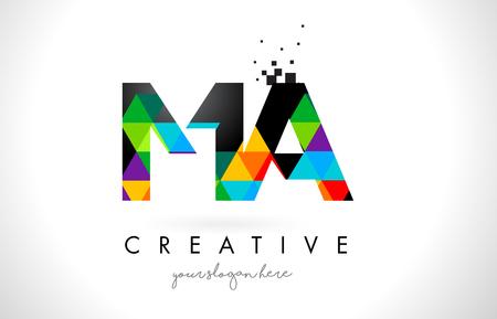 MA MA-brievenembleem met Kleurrijke Levendige het Ontwerp Vectorillustratie van Driehoekentextuur.