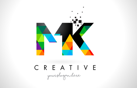 MK M K Letter Logo with Colorful Vivid Triangles Texture Design Vector Illustration.