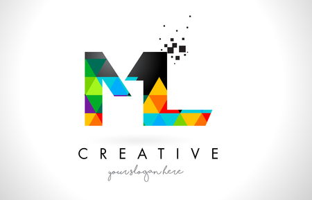 ml: ML M L Letter Logo with Colorful Vivid Triangles Texture Design Vector Illustration. Illustration
