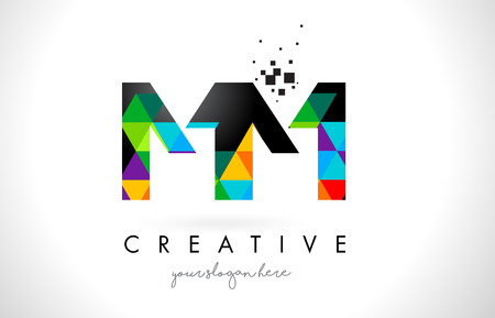 MM M M Letter Logo with Colorful Vivid Triangles Texture Design Vector Illustration.