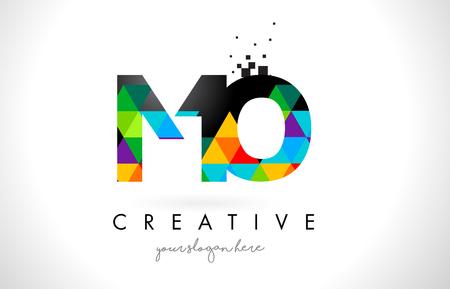 MO M O 文字ロゴ鮮やかな三角形のカラフルなテクスチャ デザイン ベクトル イラスト。