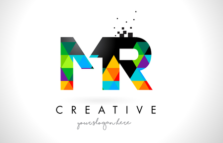 MR M R Letter Logo with Colorful Vivid Triangles Texture Design Vector Illustration.