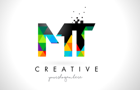 MT M T Letter Logo with Colorful Vivid Triangles Texture Design Vector Illustration.