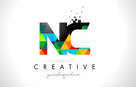 NC N C Letter Logo with Colorful Vivid Triangles Texture Design Vector Illustration. Vectores