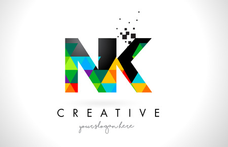 NK N K Letter Logo with Colorful Vivid Triangles Texture Design Vector Illustration.