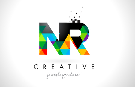 NR N R Letter Logo with Colorful Vivid Triangles Texture Design Vector Illustration.