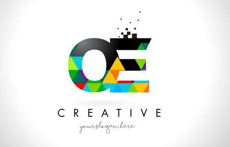 OE O E Letter Logo with Colorful Vivid Triangles Texture Design Vector Illustration. Illustration
