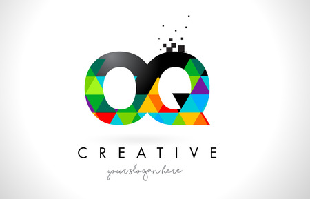 OQ O Q Letter Logo with Colorful Vivid Triangles Texture Design Vector Illustration. Illustration