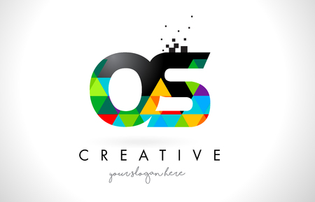 OS O S Letter Logo with Colorful Vivid Triangles Texture Design Vector Illustration. Illustration