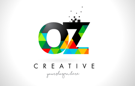 OZ O Z Letter Logo with Colorful Vivid Triangles Texture Design Vector Illustration.