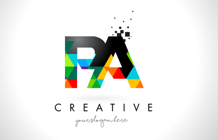 PA PA Letter Logo met kleurrijke levendige driehoekige textuur ontwerp vectorillustratie.