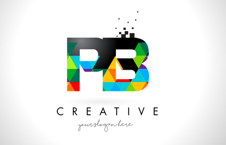 PB P B Letter Logo with Colorful Vivid Triangles Texture Design Vector Illustration. Illustration
