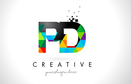 PD P D Letter Logo with Colorful Vivid Triangles Texture Design Vector Illustration.