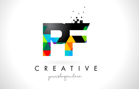 PF P F Letter Logo with Colorful Vivid Triangles Texture Design Vector Illustration. Illustration