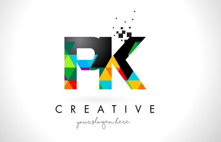 PK P K Letter Logo with Colorful Vivid Triangles Texture Design Vector Illustration.