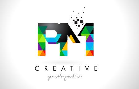 カラフルな鮮やかな三角形テクスチャ デザイン ベクトル イラスト午後 P L 文字ロゴ。