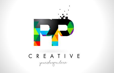カラフルな鮮やかな三角形テクスチャ デザイン ベクトル図と PP P 文字ロゴ。