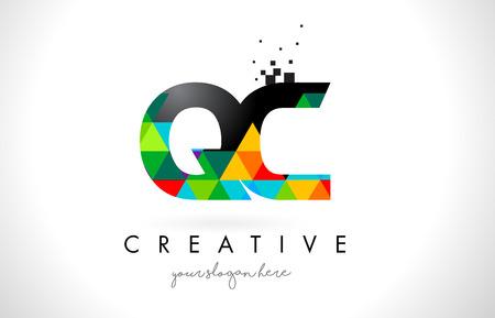 QC Q C Letter Logo with Colorful Vivid Triangles Texture Design Vector Illustration. Illustration