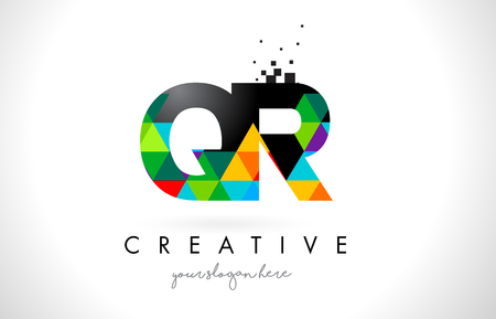 QR Q R Letter Logo with Colorful Vivid Triangles Texture Design Vector Illustration.