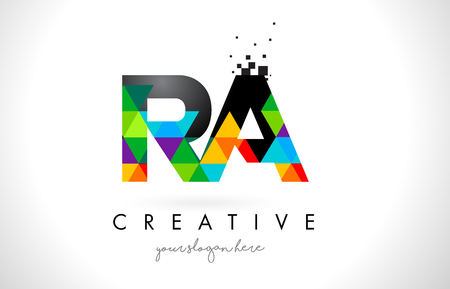 RA R Q Letter Logo with Colorful Vivid Triangles Texture Design Vector Illustration.