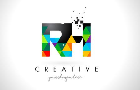 rh: RH R H Letter Logo with Colorful Vivid Triangles Texture Design Vector Illustration. Illustration