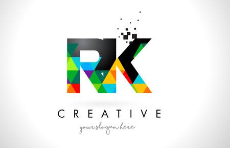 RK R K Letter Logo with Colorful Vivid Triangles Texture Design Vector Illustration. Logó