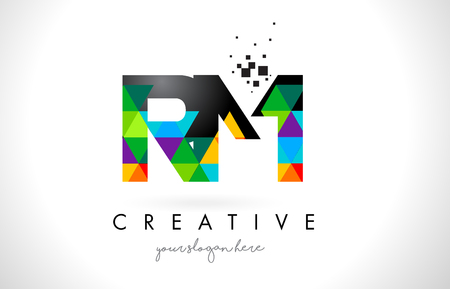 RM R M Letter Logo with Colorful Vivid Triangles Texture Design Vector Illustration.
