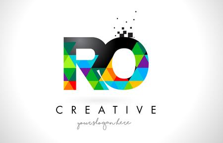 RO RO lettre Logo avec des triangles vives colorées Texture Design Illustration vectorielle. Banque d'images - 76868899