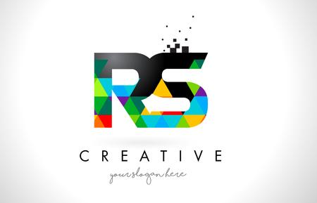カラフルな鮮やかな三角形テクスチャ デザイン ベクトル図と RS R S 文字ロゴ。 写真素材 - 76892106