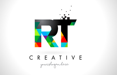 RT R T Letter Logo with Colorful Vivid Triangles Texture Design Vector Illustration. Illustration