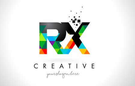 RX R X Letter Logo with Colorful Vivid Triangles Texture Design Vector Illustration.