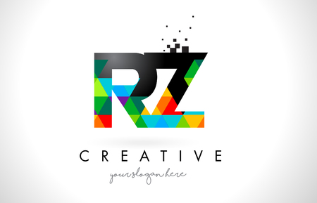 RZ R Z Letter Logo with Colorful Vivid Triangles Texture Design Vector Illustration.
