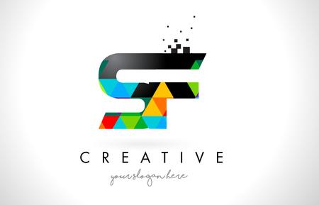 SF S F Letter Logo with Colorful Vivid Triangles Texture Design Vector Illustration. Illusztráció
