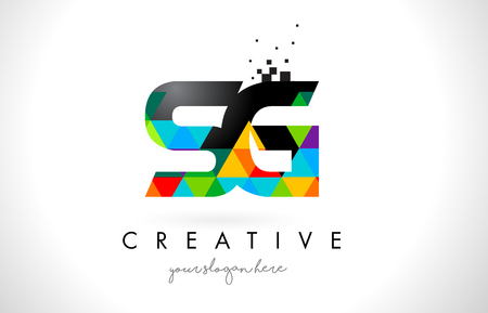 SG S G Letter Logo with Colorful Vivid Triangles Texture Design Vector Illustration. 矢量图像